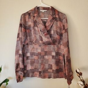 NWT! Pendleton Brown Geometric Silk Blouse